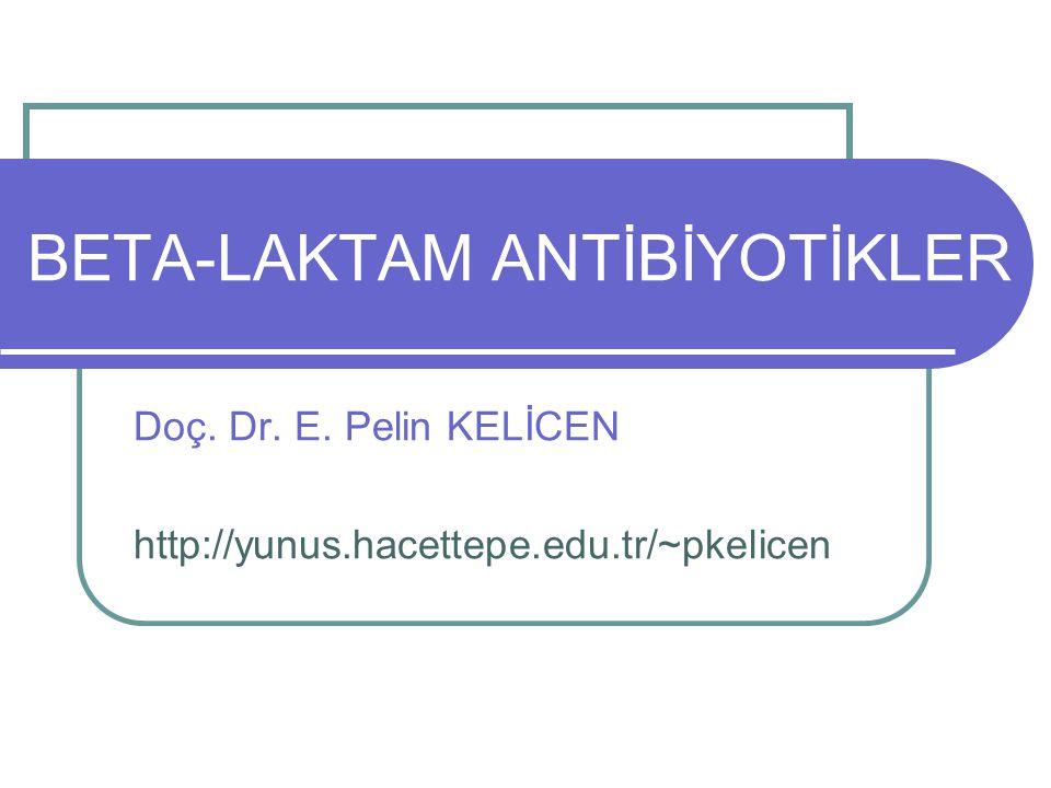 12 BETA-LAKTAM ANTİBİYOTİKLER PENİSİLİN TÜRLERİ PENİSİLİN G DEPO TÜREVLERİ Suda çözünmezler, sadece im 1- Prokain-Penisilin G: Uzun etkili, Pnömokokal pnömoni, Streptokokal anjin, Gonore'de Takviyeli Prokain-Penisilin Penisilin G: im, etkisi çabuk başlar, 1k kristalize penisilin + 3k prokain-penisilinG 2- Benzatin-Penisilin G: 2m Penisilin G + 1m benzatin Streptokokal anjin, Farenjit, Sifiliz'de