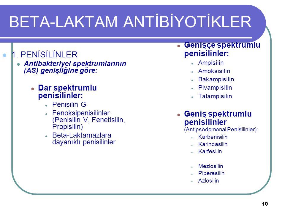 10 BETA-LAKTAM ANTİBİYOTİKLER 1. PENİSİLİNLER Antibakteriyel spektrumlarının (AS) genişliğine göre: Dar spektrumlu penisilinler: Penisilin G Fenoksipe