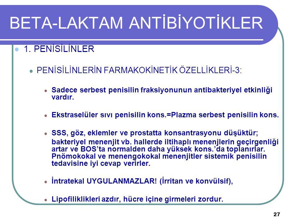 27 BETA-LAKTAM ANTİBİYOTİKLER 1. PENİSİLİNLER PENİSİLİNLERİN FARMAKOKİNETİK ÖZELLİKLERİ-3: Sadece serbest penisilin fraksiyonunun antibakteriyel etkin