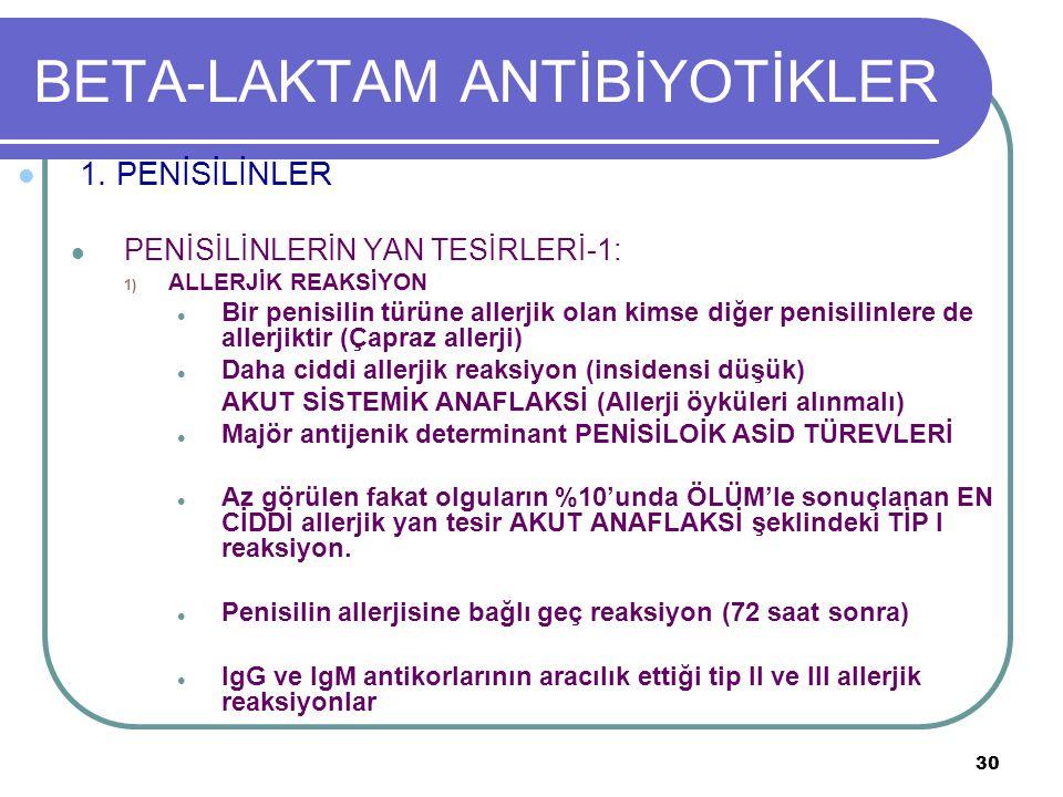 30 BETA-LAKTAM ANTİBİYOTİKLER 1. PENİSİLİNLER PENİSİLİNLERİN YAN TESİRLERİ-1: 1) ALLERJİK REAKSİYON Bir penisilin türüne allerjik olan kimse diğer pen