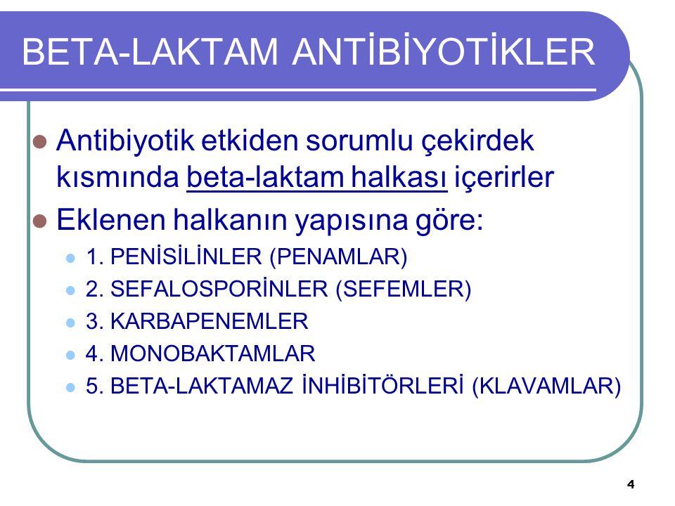 5 BETA-LAKTAM ANTİBİYOTİKLER 1.