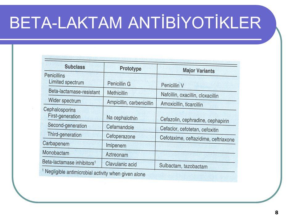 29 BETA-LAKTAM ANTİBİYOTİKLER 1.