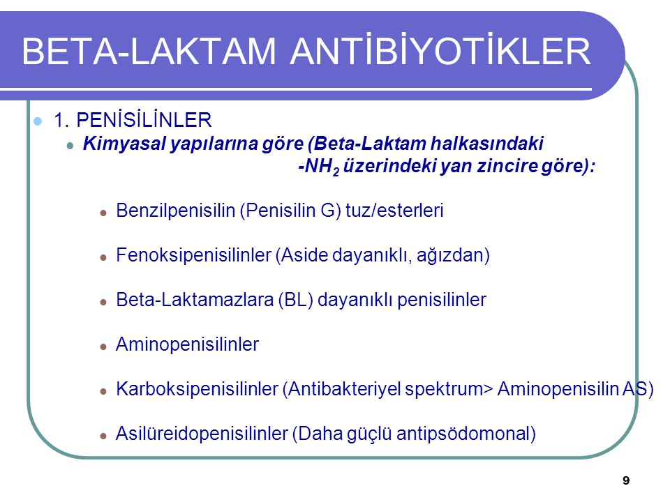 50 DİĞER BETA-LAKTAM ANTİBİYOTİKLER AZTREONAM Antibakteriyel monobaktam, Gr(-)'lerin ürettiği BL'lara dayanıklı, Gr(-) bak.