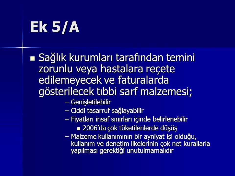 Ek 5/A Sağlık kurumları tarafından temini zorunlu veya hastalara reçete edilemeyecek ve faturalarda gösterilecek tıbbi sarf malzemesi; Sağlık kurumlar