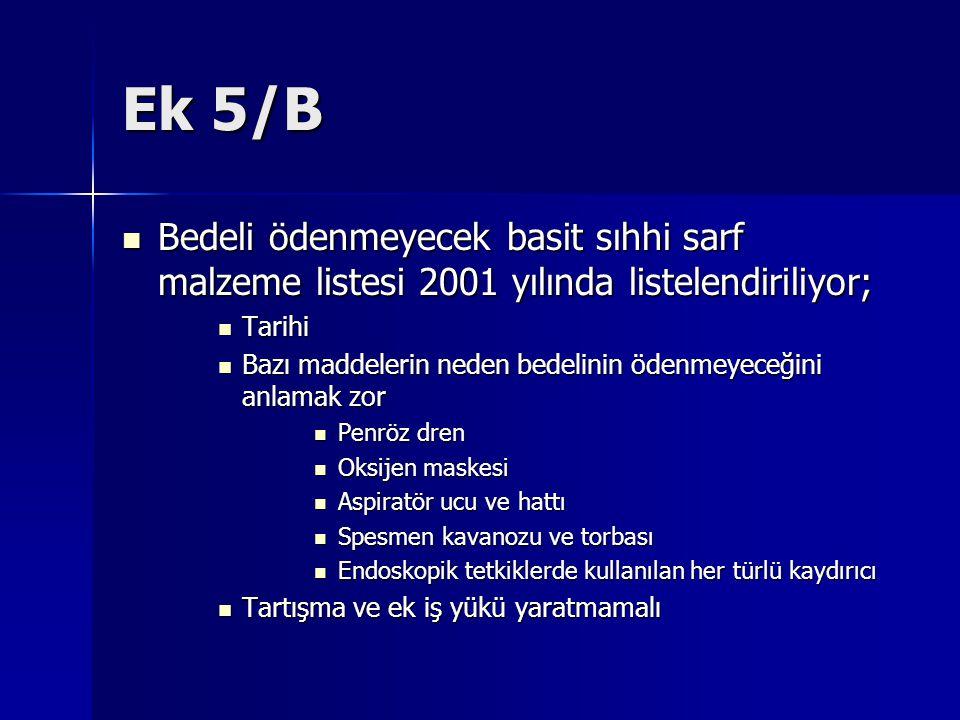 Ek 5/B Bedeli ödenmeyecek basit sıhhi sarf malzeme listesi 2001 yılında listelendiriliyor; Bedeli ödenmeyecek basit sıhhi sarf malzeme listesi 2001 yı