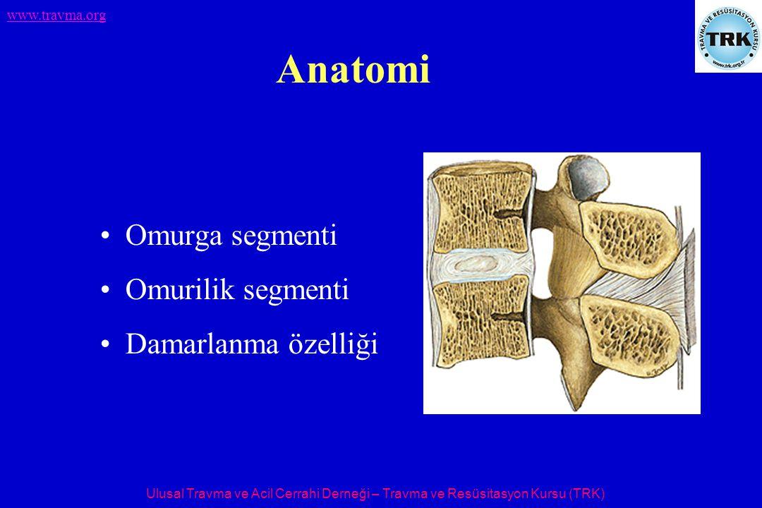 Ulusal Travma ve Acil Cerrahi Derneği – Travma ve Resüsitasyon Kursu (TRK) www.travma.org Anatomi Omurga segmenti Omurilik segmenti Damarlanma özelliği