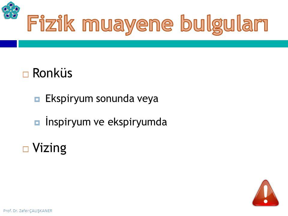 Prof. Dr. Zafer ÇALIŞKANER  Ronküs  Ekspiryum sonunda veya  İnspiryum ve ekspiryumda  Vizing