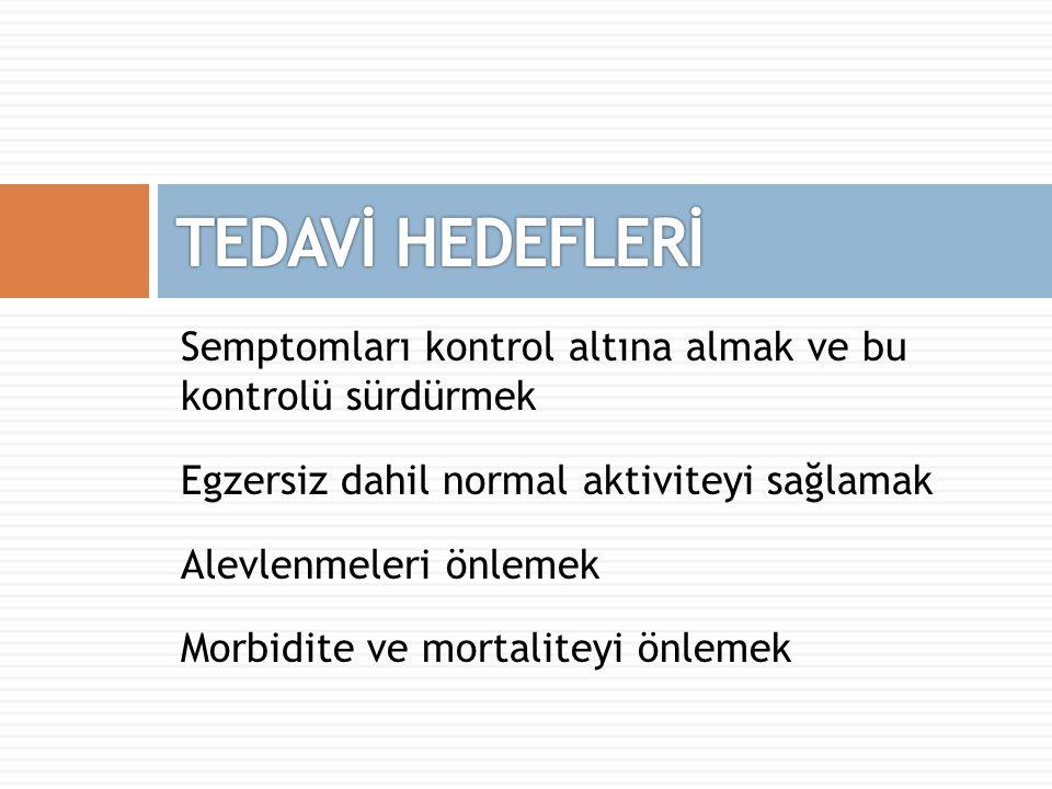 Semptomları kontrol altına almak ve bu kontrolü sürdürmek Egzersiz dahil normal aktiviteyi sağlamak Alevlenmeleri önlemek Morbidite ve mortaliteyi önl