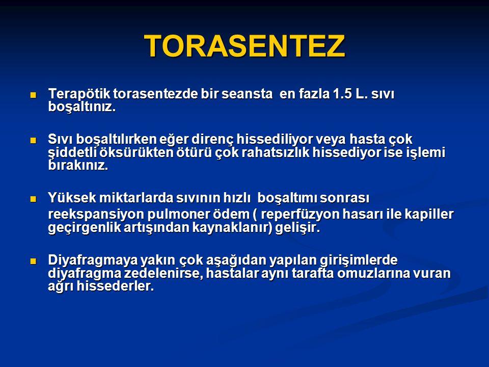 Torasentez ve Plevra biyopsisi komplikasyonları Pnömotoraks(%8.4) Pnömotoraks(%8.4) Hemotoraks Hemotoraks Hava embolisi Hava embolisi Kardiak arrest Kardiak arrest