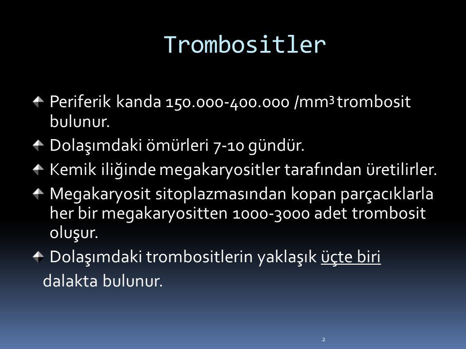 2 Trombositler Periferik kanda 150.000-400.000 /mm 3 trombosit bulunur. Dolaşımdaki ömürleri 7-10 gündür. Kemik iliğinde megakaryositler tarafından ür