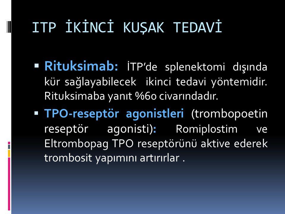 ITP İKİNCİ KUŞAK TEDAVİ  Rituksimab: İTP'de splenektomi dışında kür sağlayabilecek ikinci tedavi yöntemidir. Rituksimaba yanıt %60 civarındadır.  TP