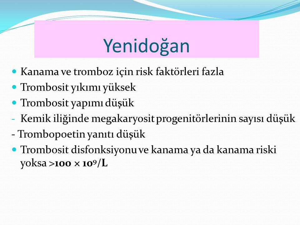 Yenidoğan Kanama ve tromboz için risk faktörleri fazla Trombosit yıkımı yüksek Trombosit yapımı düşük - Kemik iliğinde megakaryosit progenitörlerinin