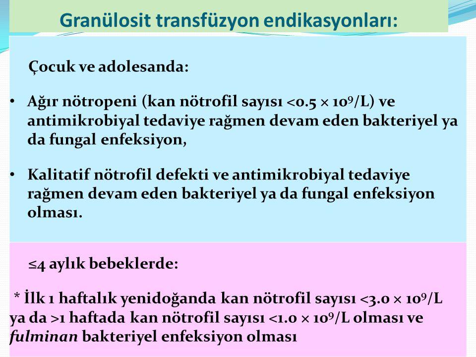 Granülosit transfüzyon endikasyonları: Çocuk ve adolesanda: Ağır nötropeni (kan nötrofil sayısı <0.5 × 10 9 /L) ve antimikrobiyal tedaviye rağmen deva