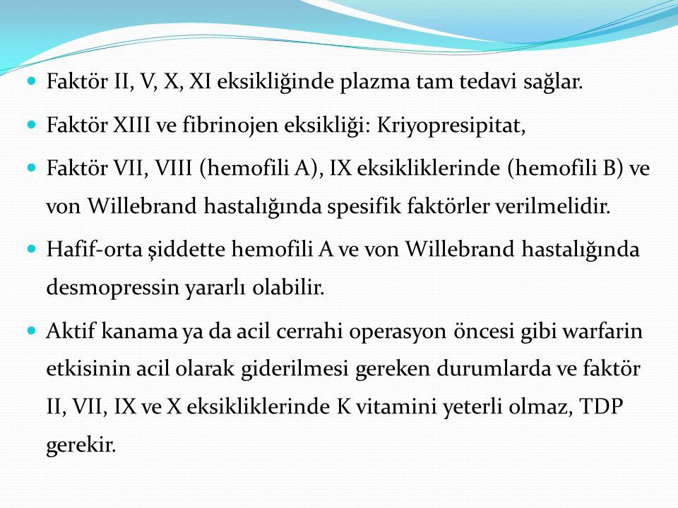 Faktör II, V, X, XI eksikliğinde plazma tam tedavi sağlar. Faktör XIII ve fibrinojen eksikliği: Kriyopresipitat, Faktör VII, VIII (hemofili A), IX eks