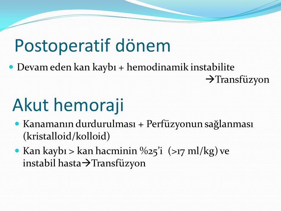 PLT transfüzyonu-Doz: Amaç: >50× 10 9 /L (Çocuk) >100× 10 9 /L (Yenidoğan) Doz: <30 kg: 5-10 ml/kg >30 kg: 1 ünite 2 saatte Özellikle tekrarlayan transfüzyonlarda lökositi azaltılmış kan ürünleri ve lökosit filtreleri kullanılmalıdır.