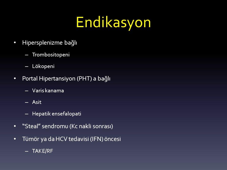 Endikasyon Hipersplenizme bağlı – Trombositopeni – Lökopeni Portal Hipertansiyon (PHT) a bağlı – Varis kanama – Asit – Hepatik ensefalopati Steal sendromu (Kc nakli sonrası) Tümör ya da HCV tedavisi (IFN) öncesi – TAKE/RF