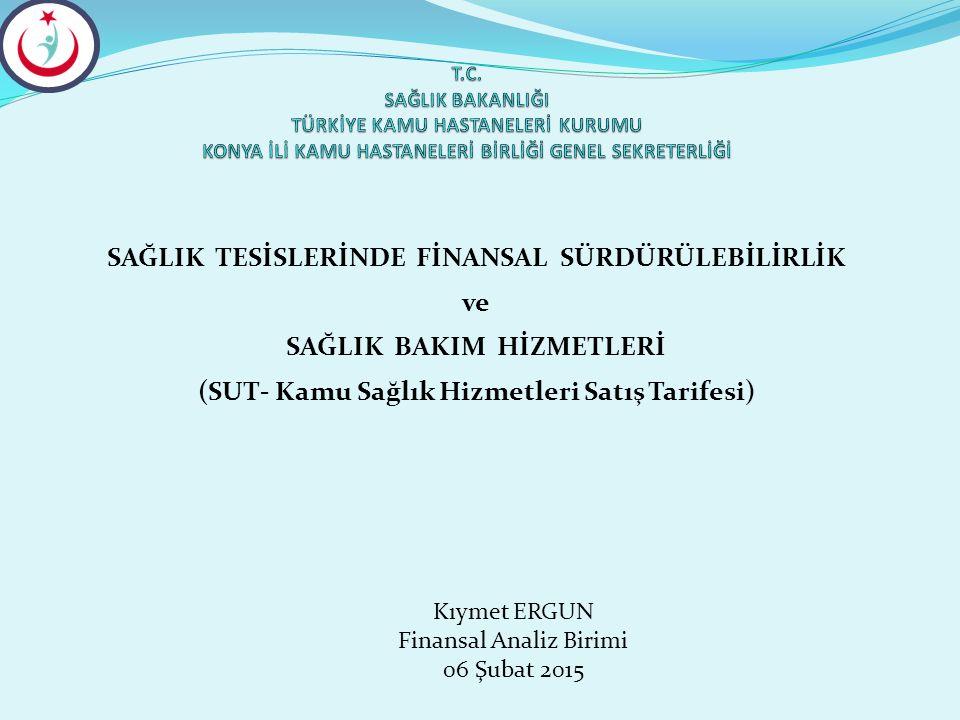 SAĞLIK TESİSLERİNDE FİNANSAL SÜRDÜRÜLEBİLİRLİK ve SAĞLIK BAKIM HİZMETLERİ (SUT- Kamu Sağlık Hizmetleri Satış Tarifesi) Kıymet ERGUN Finansal Analiz Bi