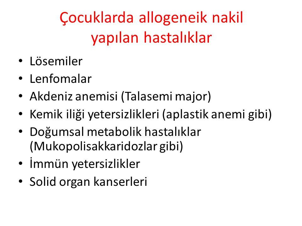 Çocuklarda allogeneik nakil yapılan hastalıklar Lösemiler Lenfomalar Akdeniz anemisi (Talasemi major) Kemik iliği yetersizlikleri (aplastik anemi gibi