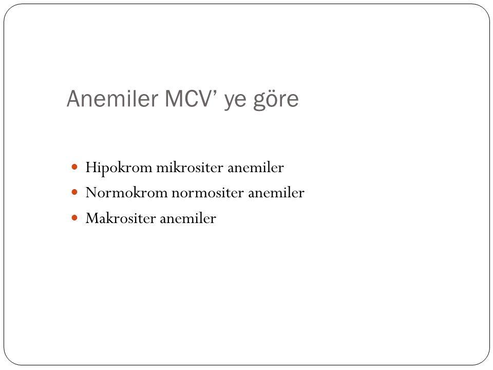 Anemiler MCV' ye göre Hipokrom mikrositer anemiler Normokrom normositer anemiler Makrositer anemiler