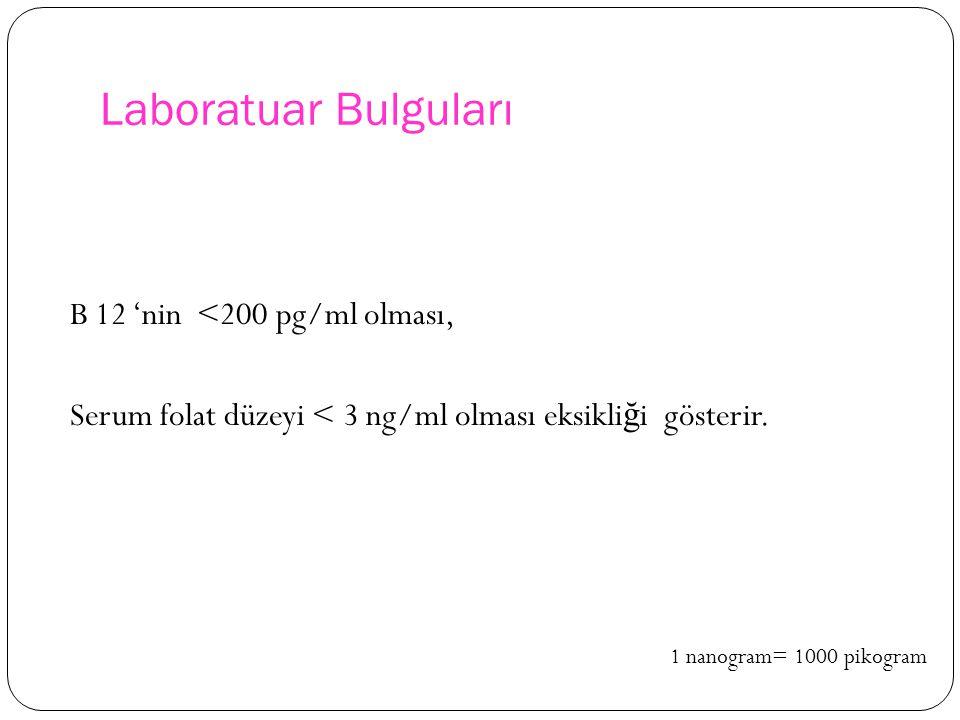 Laboratuar Bulguları B 12 'nin <200 pg/ml olması, Serum folat düzeyi < 3 ng/ml olması eksikli ğ i gösterir.