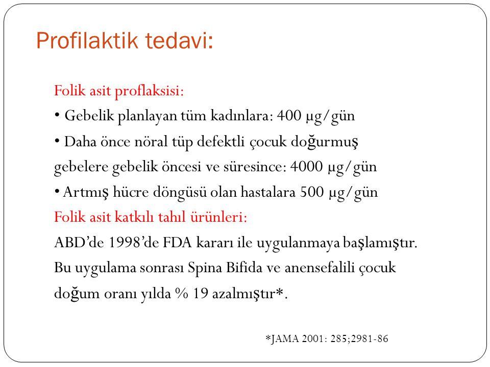 Profilaktik tedavi: Folik asit proflaksisi: Gebelik planlayan tüm kadınlara: 400 µg/gün Daha önce nöral tüp defektli çocuk do ğ urmu ş gebelere gebelik öncesi ve süresince: 4000 µg/gün Artmı ş hücre döngüsü olan hastalara 500 µg/gün Folik asit katkılı tahıl ürünleri: ABD'de 1998'de FDA kararı ile uygulanmaya ba ş lamı ş tır.