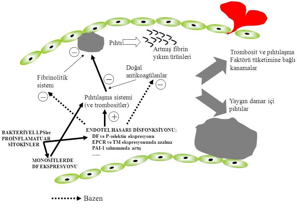 Pıhtılaşma sistemi (ve trombositler) Pıhtı _ Artmış fibrin yıkım ürünleri Fibrinolitik sistem Doğal antikoagülanlar _ Yaygın damar içi pıhtılar Trombo