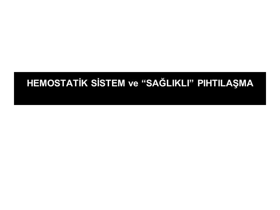 """HEMOSTATİK SİSTEM ve """"SAĞLIKLI"""" PIHTILAŞMA"""