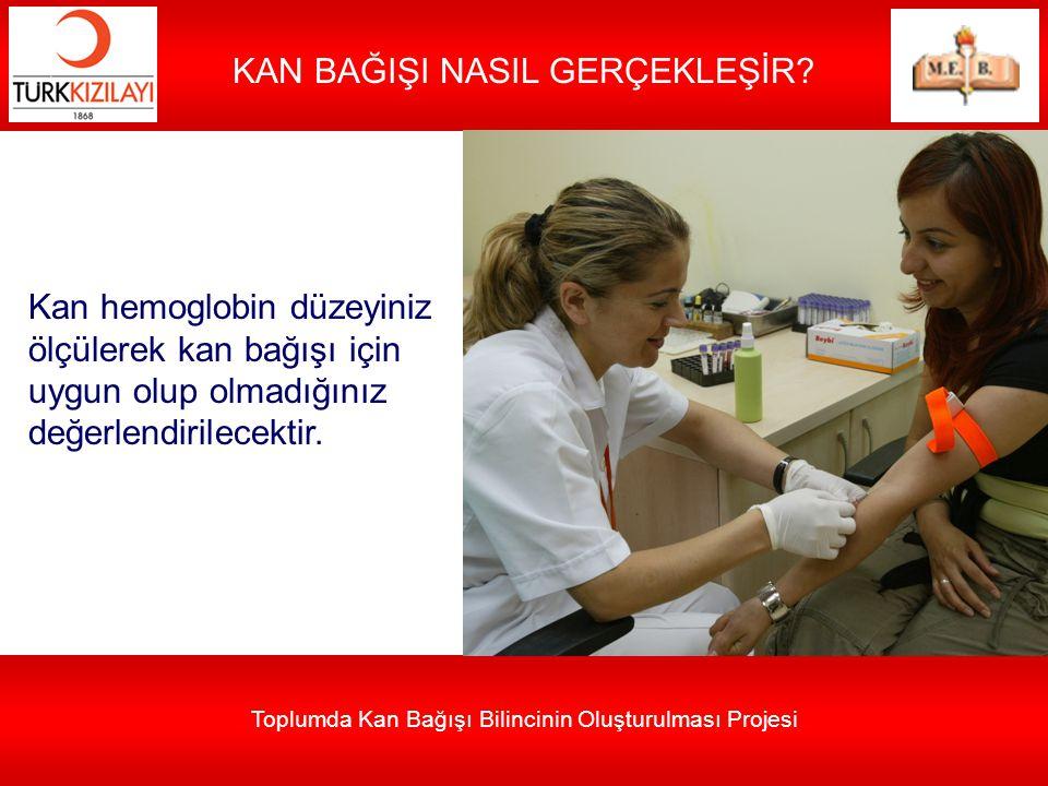 Toplumda Kan Bağışı Bilincinin Oluşturulması Projesi KAN BAĞIŞI NASIL GERÇEKLEŞİR? Kan hemoglobin düzeyiniz ölçülerek kan bağışı için uygun olup olmad