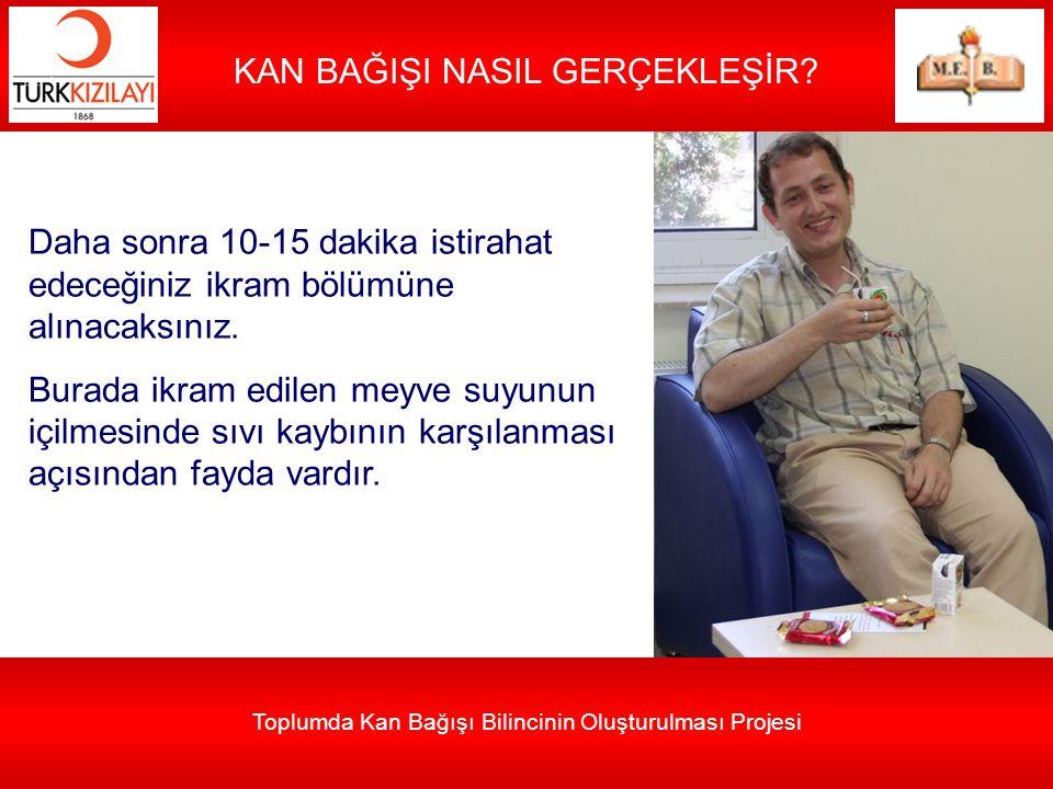 Toplumda Kan Bağışı Bilincinin Oluşturulması Projesi KAN BAĞIŞI NASIL GERÇEKLEŞİR? Daha sonra 10-15 dakika istirahat edeceğiniz ikram bölümüne alınaca