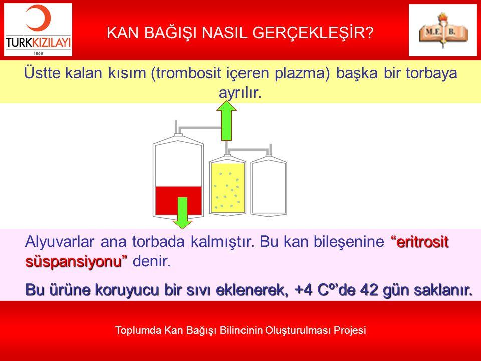 Toplumda Kan Bağışı Bilincinin Oluşturulması Projesi KAN BAĞIŞI NASIL GERÇEKLEŞİR? Üstte kalan kısım (trombosit içeren plazma) başka bir torbaya ayrıl