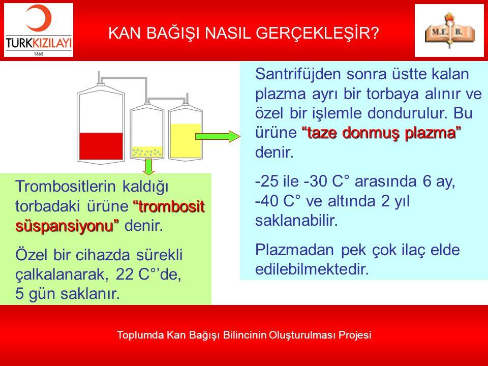 """Toplumda Kan Bağışı Bilincinin Oluşturulması Projesi KAN BAĞIŞI NASIL GERÇEKLEŞİR? """"taze donmuş plazma"""" Santrifüjden sonra üstte kalan plazma ayrı bir"""
