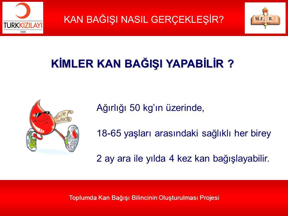 Toplumda Kan Bağışı Bilincinin Oluşturulması Projesi KAN BAĞIŞI NASIL GERÇEKLEŞİR? KİMLER KAN BAĞIŞI YAPABİLİR ? Ağırlığı 50 kg'ın üzerinde, 18-65 yaş