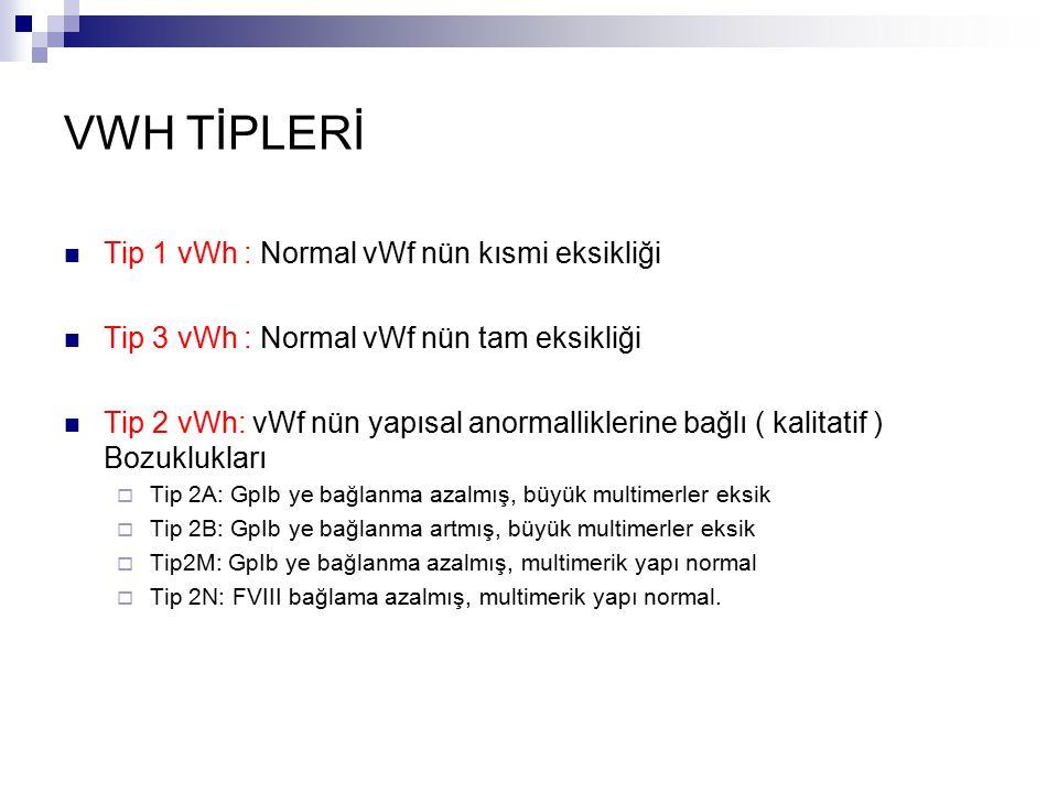VWH TİPLERİ Tip 1 vWh : Normal vWf nün kısmi eksikliği Tip 3 vWh : Normal vWf nün tam eksikliği Tip 2 vWh: vWf nün yapısal anormalliklerine bağlı ( kalitatif ) Bozuklukları  Tip 2A: GpIb ye bağlanma azalmış, büyük multimerler eksik  Tip 2B: GpIb ye bağlanma artmış, büyük multimerler eksik  Tip2M: GpIb ye bağlanma azalmış, multimerik yapı normal  Tip 2N: FVIII bağlama azalmış, multimerik yapı normal.