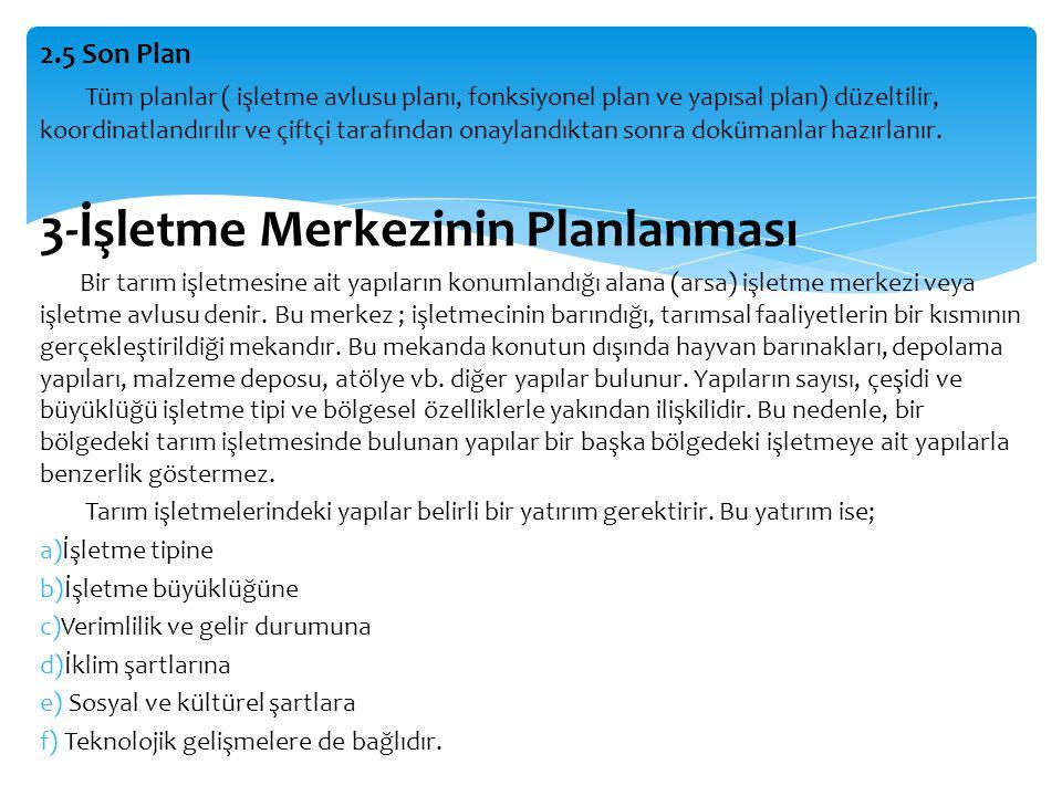 2.5 Son Plan Tüm planlar ( işletme avlusu planı, fonksiyonel plan ve yapısal plan) düzeltilir, koordinatlandırılır ve çiftçi tarafından onaylandıktan