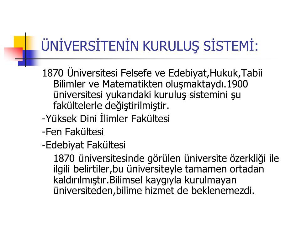 ÜNİVERSİTENİN KURULUŞ SİSTEMİ: 1870 Üniversitesi Felsefe ve Edebiyat,Hukuk,Tabii Bilimler ve Matematikten oluşmaktaydı.1900 üniversitesi yukarıdaki kuruluş sistemini şu fakültelerle değiştirilmiştir.