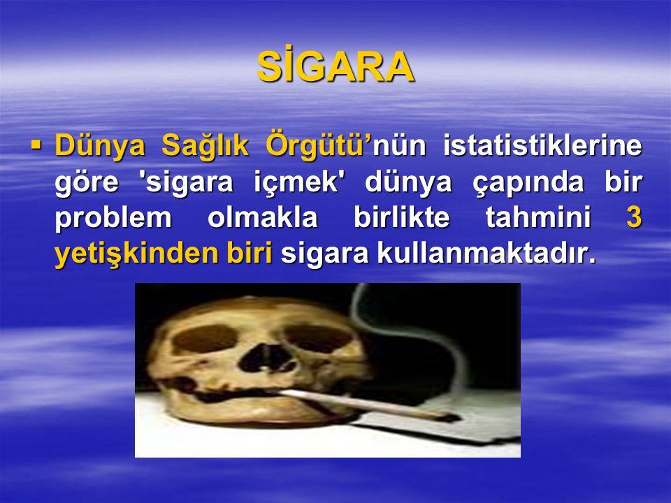 SİGARA  Dünya Sağlık Örgütü'nün istatistiklerine göre 'sigara içmek' dünya çapında bir problem olmakla birlikte tahmini 3 yetişkinden biri sigara kul
