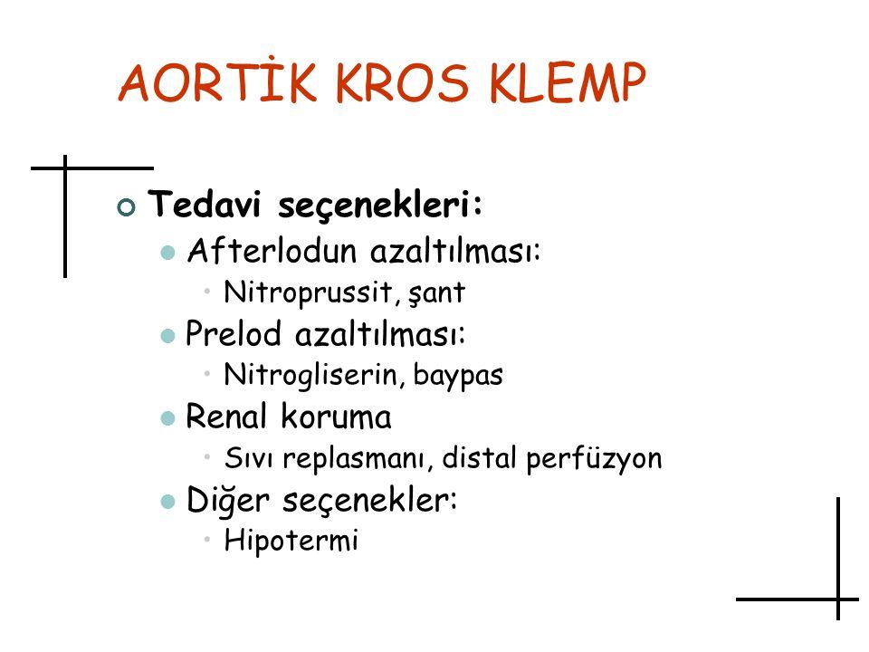 AORTİK KROS KLEMP Tedavi seçenekleri: Afterlodun azaltılması: Nitroprussit, şant Prelod azaltılması: Nitrogliserin, baypas Renal koruma Sıvı replasman