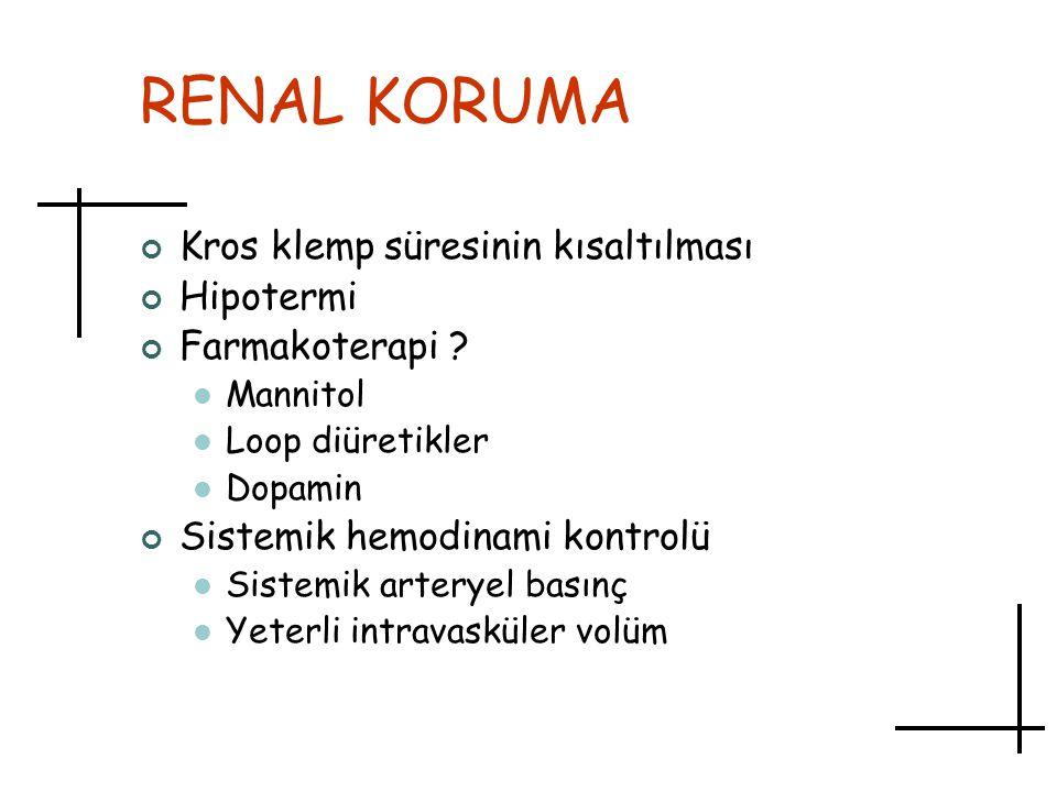 RENAL KORUMA Kros klemp süresinin kısaltılması Hipotermi Farmakoterapi ? Mannitol Loop diüretikler Dopamin Sistemik hemodinami kontrolü Sistemik arter