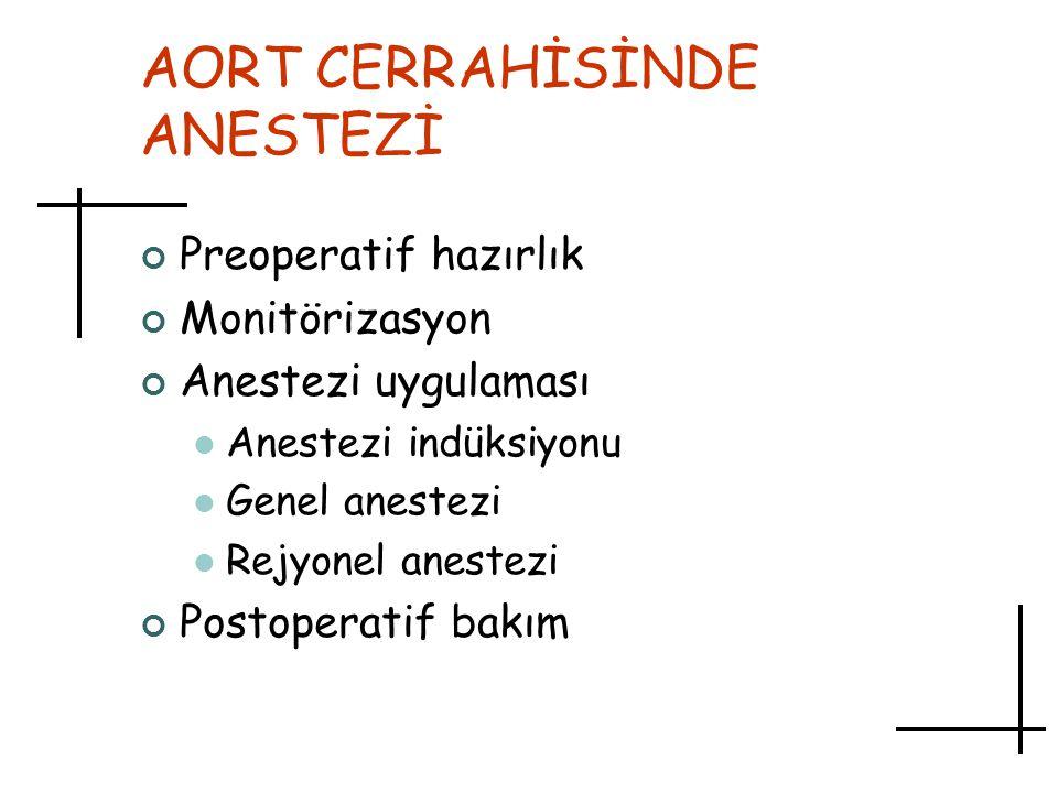 AORT CERRAHİSİNDE ANESTEZİ Preoperatif hazırlık Monitörizasyon Anestezi uygulaması Anestezi indüksiyonu Genel anestezi Rejyonel anestezi Postoperatif
