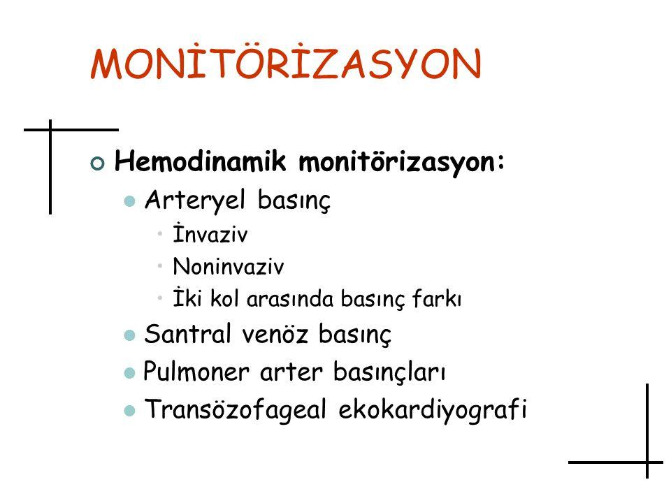 MONİTÖRİZASYON Hemodinamik monitörizasyon: Arteryel basınç İnvaziv Noninvaziv İki kol arasında basınç farkı Santral venöz basınç Pulmoner arter basınç