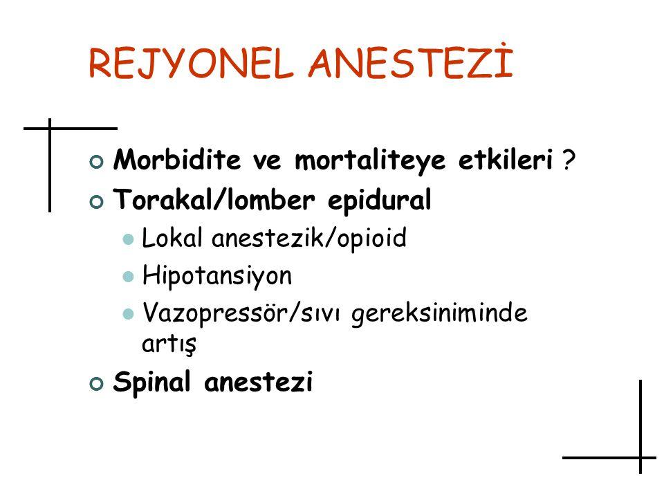 REJYONEL ANESTEZİ Morbidite ve mortaliteye etkileri ? Torakal/lomber epidural Lokal anestezik/opioid Hipotansiyon Vazopressör/sıvı gereksiniminde artı
