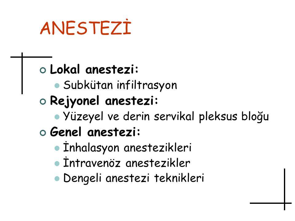 ANESTEZİ Lokal anestezi: Subkütan infiltrasyon Rejyonel anestezi: Yüzeyel ve derin servikal pleksus bloğu Genel anestezi: İnhalasyon anestezikleri İnt