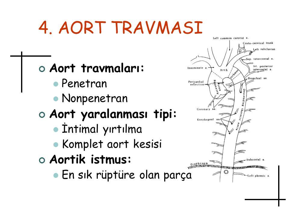 4. AORT TRAVMASI Aort travmaları: Penetran Nonpenetran Aort yaralanması tipi: İntimal yırtılma Komplet aort kesisi Aortik istmus: En sık rüptüre olan