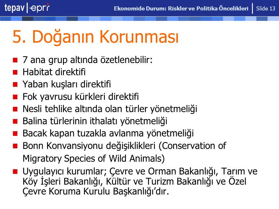 Ekonomide Durum: Riskler ve Politika Öncelikleri Slide 13 5. Doğanın Korunması 7 ana grup altında özetlenebilir: Habitat direktifi Yaban kuşları direk