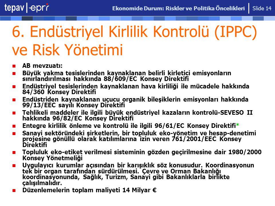Ekonomide Durum: Riskler ve Politika Öncelikleri Slide 14 6. Endüstriyel Kirlilik Kontrolü (IPPC) ve Risk Yönetimi AB mevzuatı: Büyük yakma tesislerin