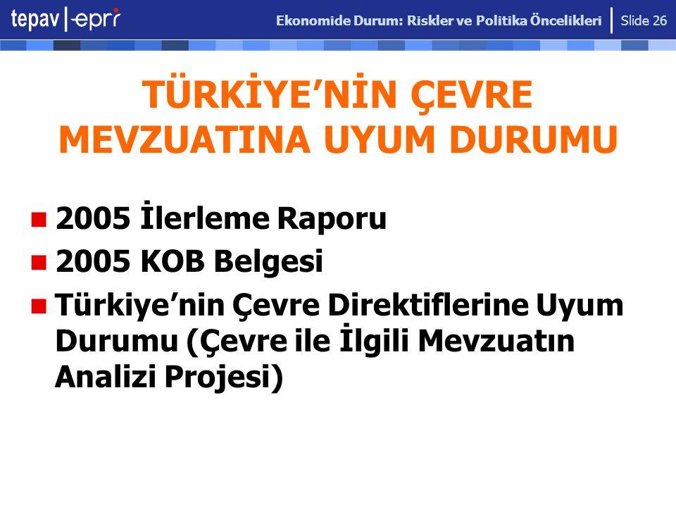 Ekonomide Durum: Riskler ve Politika Öncelikleri Slide 26 TÜRKİYE'NİN ÇEVRE MEVZUATINA UYUM DURUMU 2005 İlerleme Raporu 2005 KOB Belgesi Türkiye'nin Ç