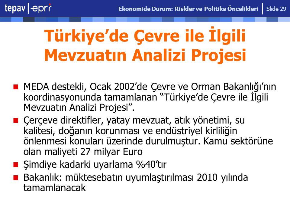 Ekonomide Durum: Riskler ve Politika Öncelikleri Slide 29 Türkiye'de Çevre ile İlgili Mevzuatın Analizi Projesi MEDA destekli, Ocak 2002'de Çevre ve O