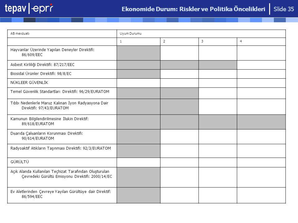 Ekonomide Durum: Riskler ve Politika Öncelikleri Slide 35 AB mevzuatıUyum Durumu 1234 Hayvanlar Üzerinde Yapılan Deneyler Direktifi: 86/609/EEC Asbest
