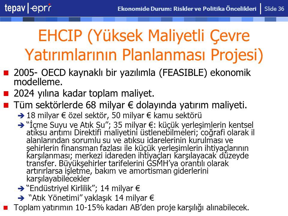 Ekonomide Durum: Riskler ve Politika Öncelikleri Slide 36 EHCIP (Yüksek Maliyetli Çevre Yatırımlarının Planlanması Projesi) 2005- OECD kaynaklı bir ya