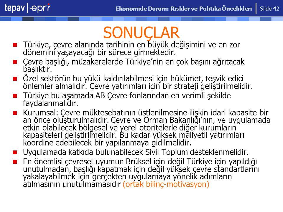 Ekonomide Durum: Riskler ve Politika Öncelikleri Slide 42 SONUÇLAR Türkiye, çevre alanında tarihinin en büyük değişimini ve en zor dönemini yaşayacağı